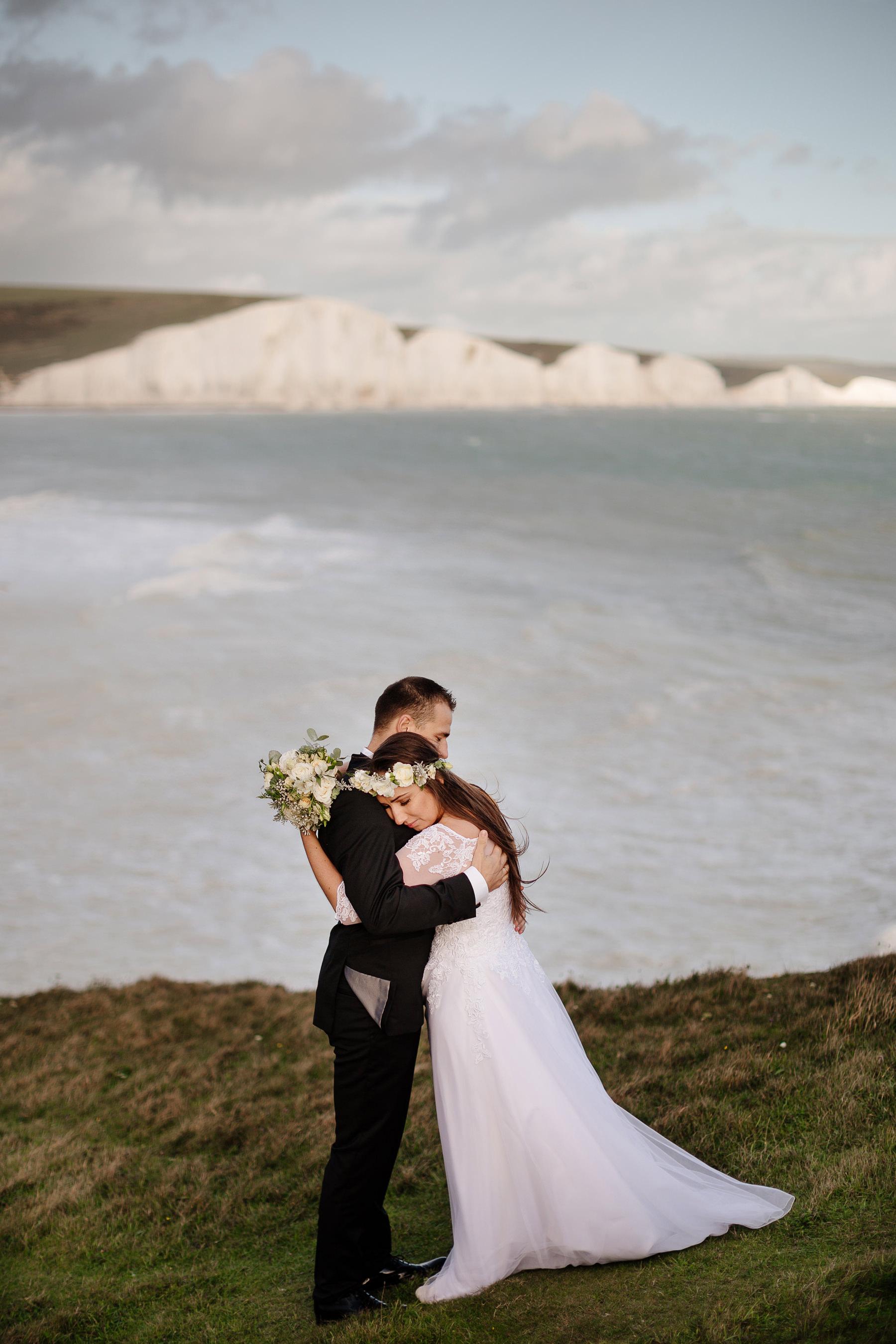 sesja ślubna nad morzem w anglii
