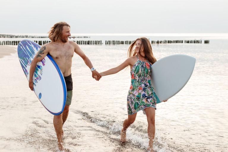 sesje narzeczeńskie szczecin kasia i tomek, surfing szczecin