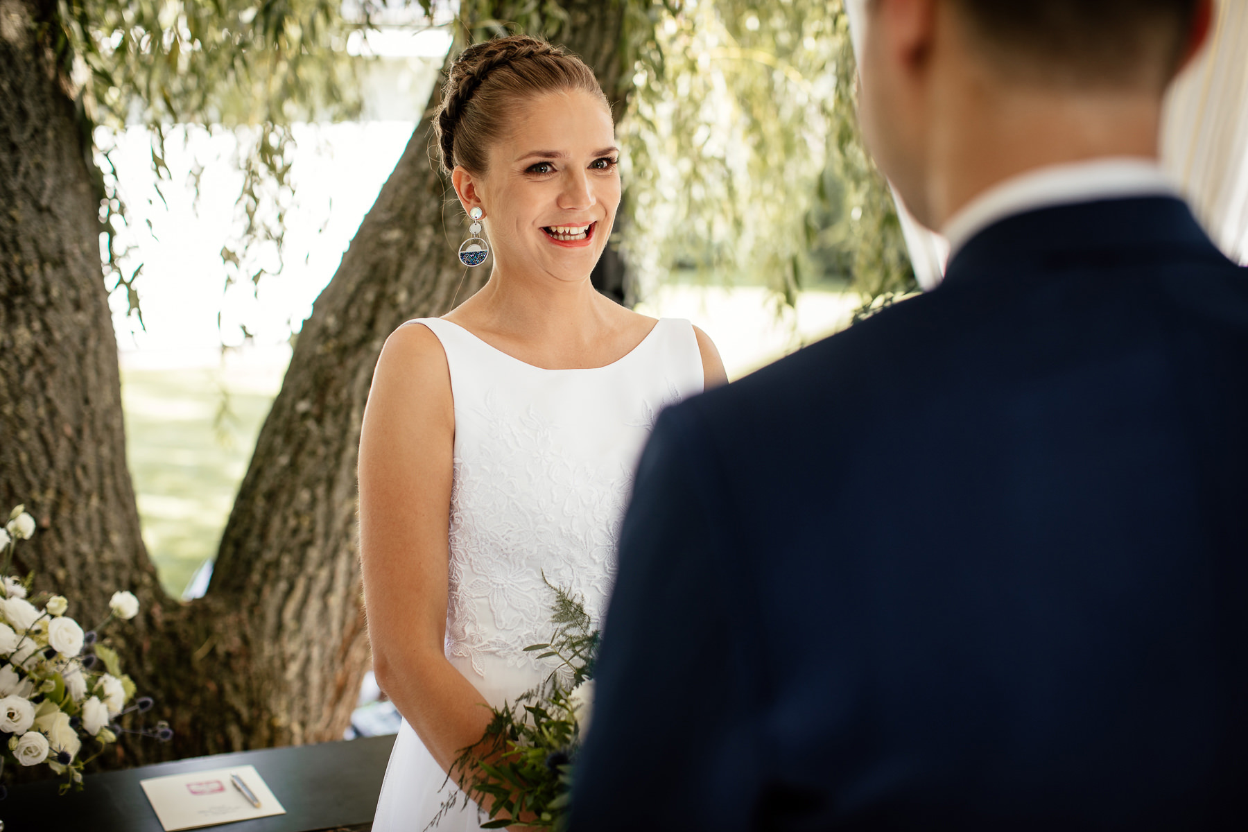 ceremonia ślubna biała wstążka