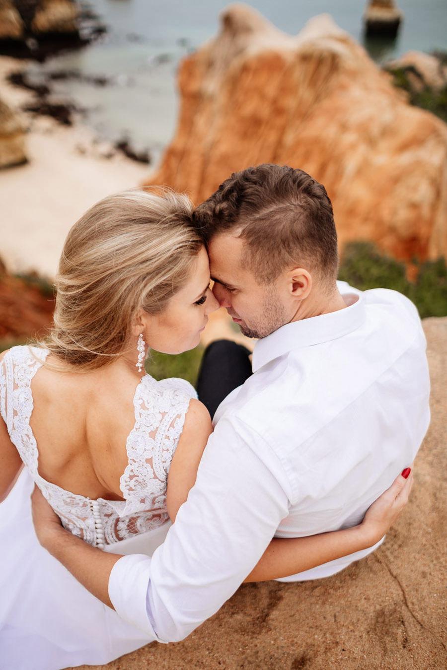 slow wedding na plaży, kasia i tomek sesja w portugalii