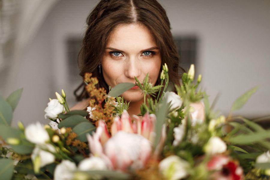 bukiet ślubny kwiatami szyte szczecin